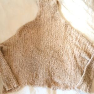 free people eyelash turtleneck sweater nude